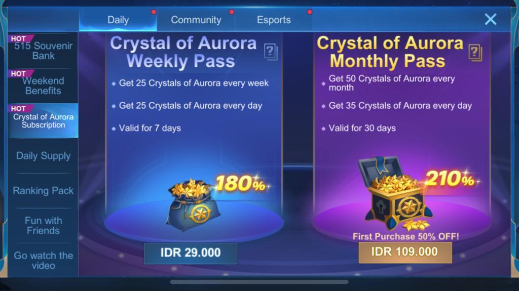 Crystal Aurora Monthly Pass yang bisa dibeli setiap bulannya untuk mendapatkan Crystal of Aurora