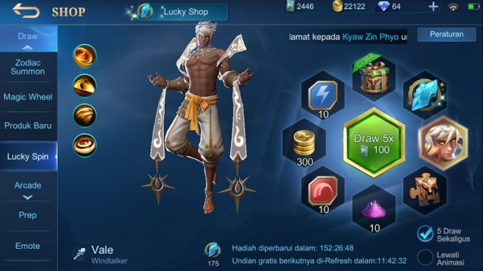 lucky spin hero vale mobile legends